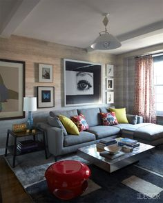 Neutral living room with colorful accessories