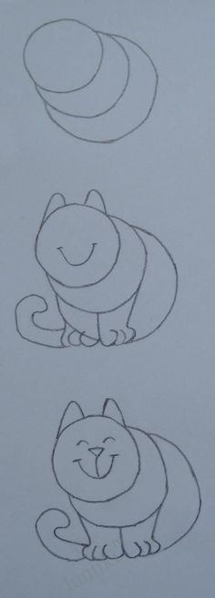 Kids art. Elementary drawing lessons - the drawings of cats