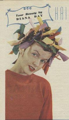 Colourful 1940s rag curls. #vintage #hair #curls #1940s
