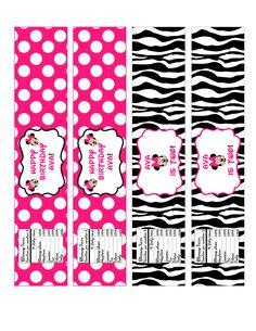 Minnie Mouse Zebra Water Bottle Label 5