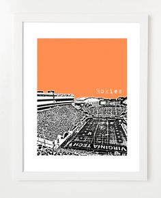 Virginia Tech Hokies- Virginia Tech University Print - NCAA Football City Skyline - Lane Stadium