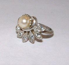 Silver Pearl Rhinestone Ring Avon Vintage by PrettyShinyThings4U