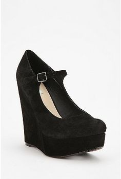 Mary-Jane suede wedge