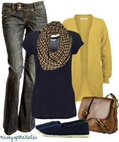 jean, woman fashion, color combos, fall outfits, color combinations, shoe, the navy, blues, mustard yellow