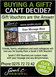 Friends, family, neighbours and work collegeues will love you for buying them a Sarah C Gift Voucher! Sometimes its hard to buy artwork for someone else. Sarah C Gift Vouchers are the perfect answer.