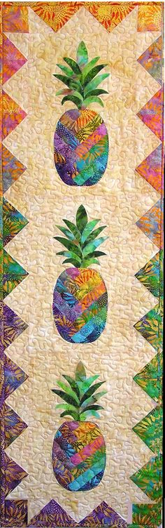 """Pineapples wall hanging, 18 x 60"""", quilt pattern by Vicki Stratton   Quilting Time"""