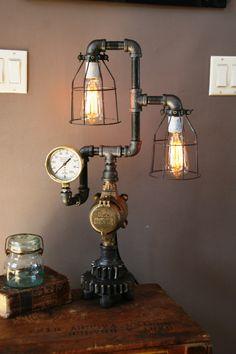 Steampunk Gear Lamp Light Industrial Art Machine Age Salvage Steam Gauge