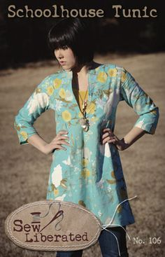 Photo of Sew Liberated Schoolhouse Tunic sewing pattern for women. $14.95