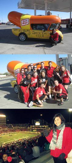 Texas Tech University Red Raiders meets the oscar mayer mini - wienermobile
