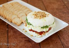 Goat cheese, pesto and sun-dried tomato terrine/dip
