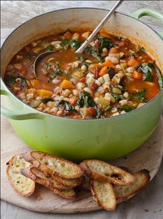 This soup is amazing!   Winter minestrone & garlic bruschetta