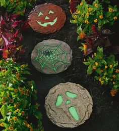 Glow-in-the-Dark Stepping Stones  These should be easy to make.