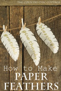 Learn how to make paper feathers here!  Love these! #fall #autumn #papercrafts