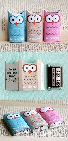 teacher gifts, school treats, schools, student, chocolate bars, gift ideas, owl craft, hershey's, owls