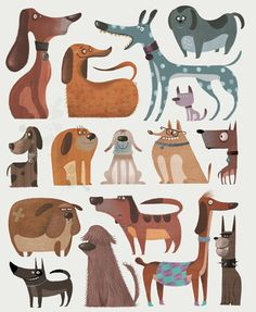 dogs illustration, dog illustrations, charact design, dogs draw, character design