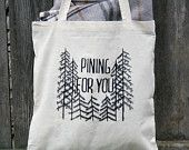 Mountain Canvas Tote Bag Block Print in Black ink on natural canvas. $15.00, via Etsy.