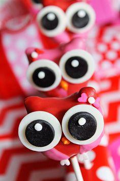Owl cake pops for valentines day!