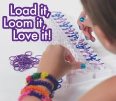 FunLoom- Make colorful bracelets, rings, hair ties, anklets, belts and much more with Fun Loom! Fun Loom Bracelet Making Kit uses 100% silicone stretchy bands in a rainbow of colors. The 100% silicone quality bands provide brighter colors, no fading and won't pull hair or skin. Using fun loom is easy load the loom board with your favorite color bands. Use the hook to link the bands in a pattern and pop it off the board and clip to finish. #FunCreation #Imagination #AsSeenOnTV