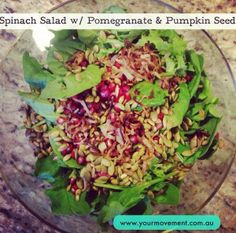 Spinach Salad with Pomegranate & Pumpkin Seeds