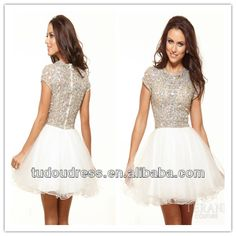 LH0006 White and Silver High Neck Beaded Crystal A-Line Short Mini Homecoming Semi Formal Dresses With Short Sleeve Cocktail