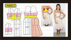 Modelagem de vestido com recortes abertos da Calvin Klein. ModelistA: Elle Magazine's Women in Hollywood