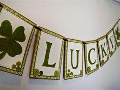St Patricks Banner, Bunting, Lucky Banner, Shamrock Banner, St Patricks Day Decoration. $25.00, via Etsy.