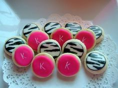 hot pink and zebra cookies