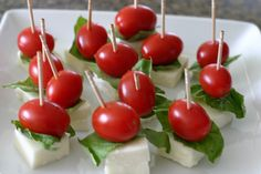 Caprese hors d'oeuvres. Simple and fun.  Cuisine: Italian Course: Appetizer Style: quick  easy, budget  Servings: Prep Time: Cook Time: Skill Level: Easy Ingredients:  Fresh mozzarella (