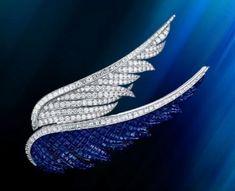 angel wings, blue, diamond, brooch, van cleef