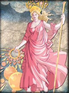 Hera é a mais majestosa deusa do Olimpo. Filha mais velha de Cronos e Réia, assim como seus irmãos, a exceção de Zeus, foi engolida por Cronos antes de nascer. Hera casou-se com seu irmão Zeus, numa linda cerimônia. Dizem entretanto, que o amor entre eles era antigo e que de sua união nasceram quatro filhos: Ares, Hebe, Hefesto e Ilítia. Hera era a protetora das mulheres casadas. Tida como uma mulher extremamente explosiva e ciumenta, que vivia irritada com as infidelidades de Zeus.