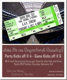 Super Bowl Party Ideas decor, invites, food