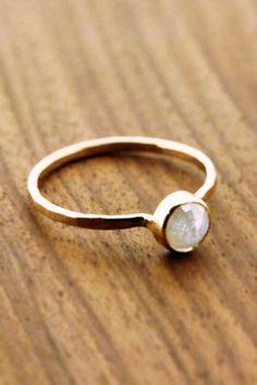 Milky White Rose Cut Diamond Ring | Melissa Joy Manning