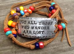 Not All Who Wander Are Lost ID wrap Bracelet, silver, leather, Hand Stamped, Inspirational jewelry, bracelet with words, Harry potter quote on Etsy, $28.00