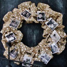 burlap wreaths, polka dots, thought gift, dot photo, photo wreath, thoughtful gifts, wreath craft