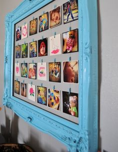 Picture display - love the colorful frame, and you can keep swapping out pictures this way too.. Fun!