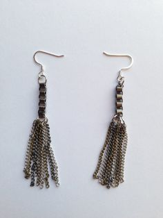 Rocker chic earrings with a chain and tassel. by EmilyMariesShop