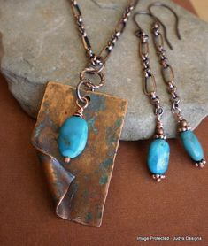 Hammered turquoise necklace and earring set, gemstone, verdegris patina copper #dteam