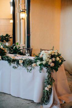 #sweetheart-table  Photography: Kallima Photography - kallimaphotography.com  Read More: http://www.stylemepretty.com/2014/10/21/glamorous-boca-raton-courtyard-wedding/