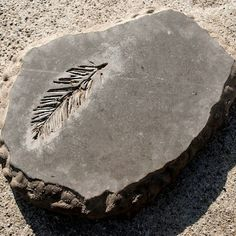 "Modeling clay creates the form and helps make the edges of these step stones look organic. The ""fossil"" is just a flower, branch, or leaf; the result—delicate simplicity in concrete."