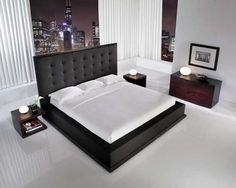 The-ludlow-hardwood-platform-bed-with-black-leather-headboard