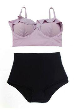 Purple Lavender Midkini Top and Black Highwaisted High Waisted Waist High-Waist High-waisted Swimsuit Swimwear Bathing Swim suit suits S M