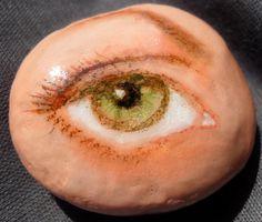 Green Eyeball Artrock hand painted rock