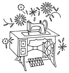Antique sewing machine embroidery pattern