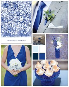 Classic Cobalt Wedding Inspiration Board by papersnaps.com