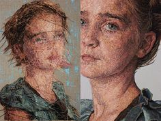 embroidered children's portraits by Cayce Zavaglia. She creates each portrait by hand embroidered using wool, silk and cotton thread.