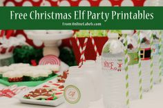 Free #Christmas #Elf Party Printables from OnlineLabels.com and @Blush Printables includes #waterbottlelabels #gifttaglabels #christmasphotoprops #candylabels and more!