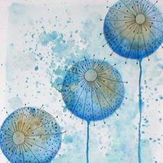 Blue Floral (detail) watercolour.