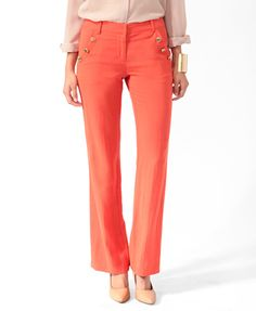 F21 Flared crest button pants, tomato $29.80