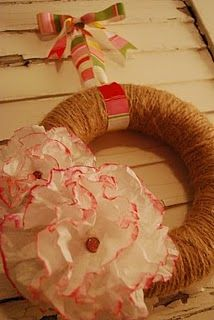 twine wreath with coffee filter flowers tutorial