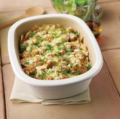 Salsa verde, tortilla chips, and tons of melty cheese. Our Cheesy Chicken Chilaquiles in the Deep Covered Baker are a family favorite.  www.pamperedchef.biz/one800funchefs